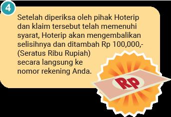 Setelah diperiksa oleh pihak Hoterip dan klaim tersebut telah memenuhi syarat, Hoterip akan mengembalikan selisihnya dan ditambah Rp 100,000,- (Seratus Ribu Rupiah) secara langsung ke nomor rekening Anda.
